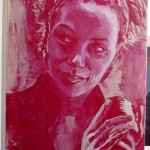"""Danielle (Underpainting)"" Acrylic on canvas. 20 x 30 inches. Painted 2008 by Matt Cauley"