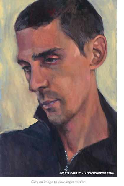 """Ignacio"" Acrylic on canvas. 20 x 30 inches. Painted 2008 by Matt Cauley"