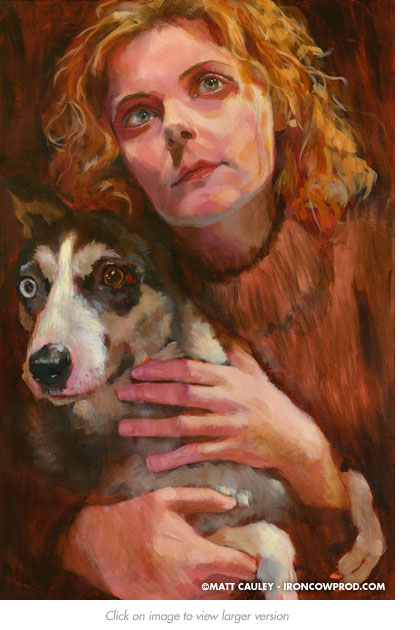 """Magda and Mija"" Acrylic on canvas. 20 x 30 inches. Painted 2008 by Matt Cauley"