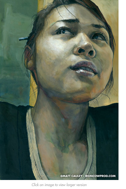 """MIa"" Acrylic on canvas. 20 x 30 inches. Painted 2008 by Matt Cauley"