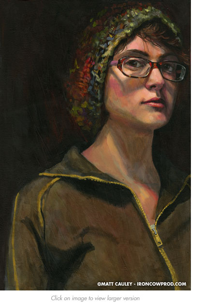 """Natalya"" Acrylic on canvas. 20 x 30 inches. Painted 2008 by Matt Cauley"