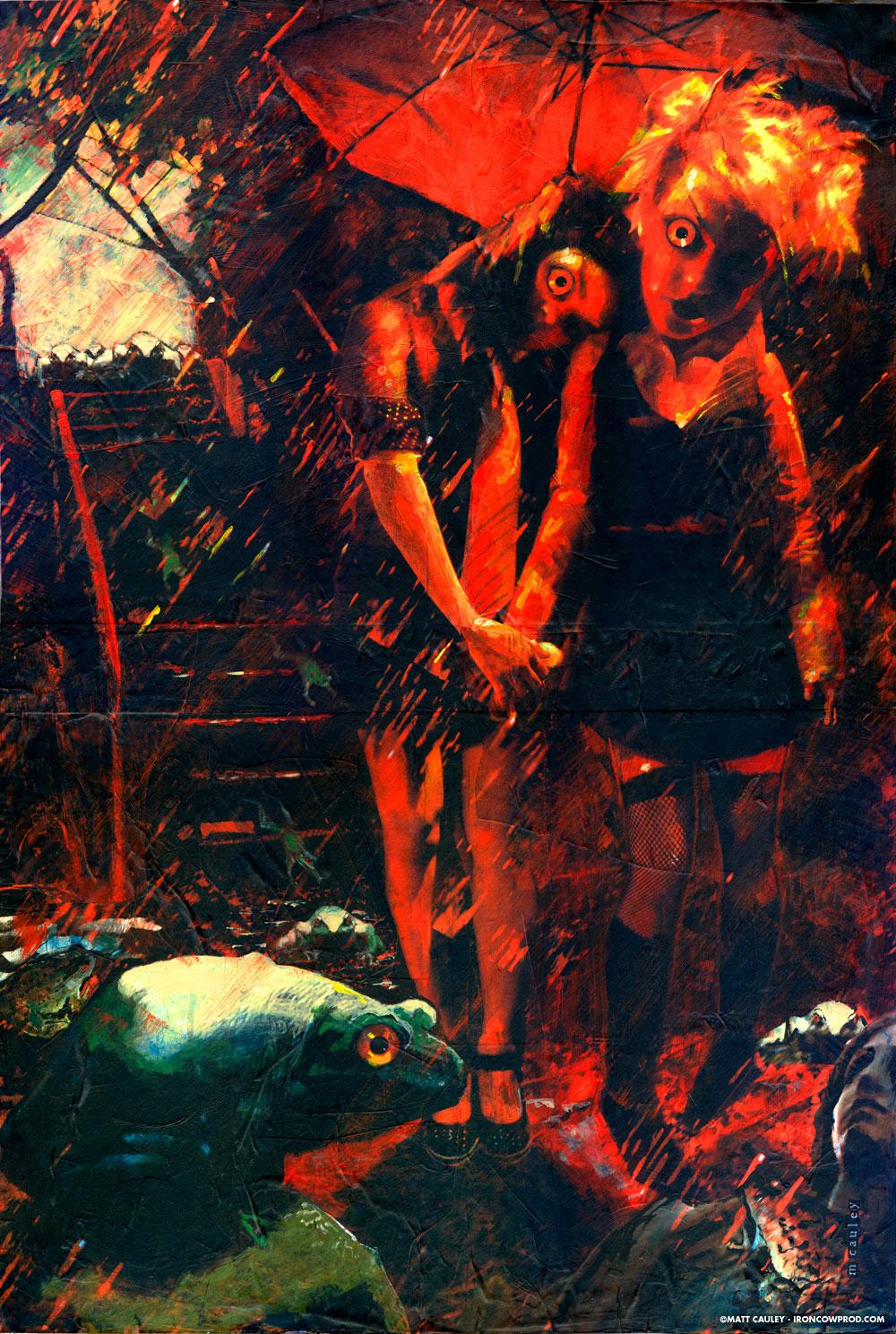 """Saturday"" Mixed Media Acrylics on Masonite. 20 x 30 inches. Painted 2006 by Matt 'Iron-Cow' Cauley."
