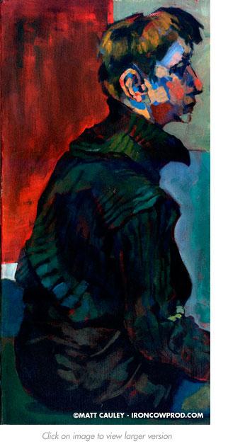 """Aria"" Oil on canvas. 12 x 24 inches. Painted circa 1995 by Matt 'Iron-Cow' Cauley."