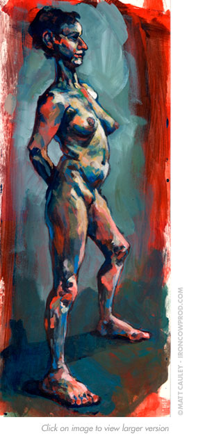 """Blue Nude"" Acrylic on panel. 7 x 20 inches. Painted circa 1995 by Matt 'Iron-Cow' Cauley."