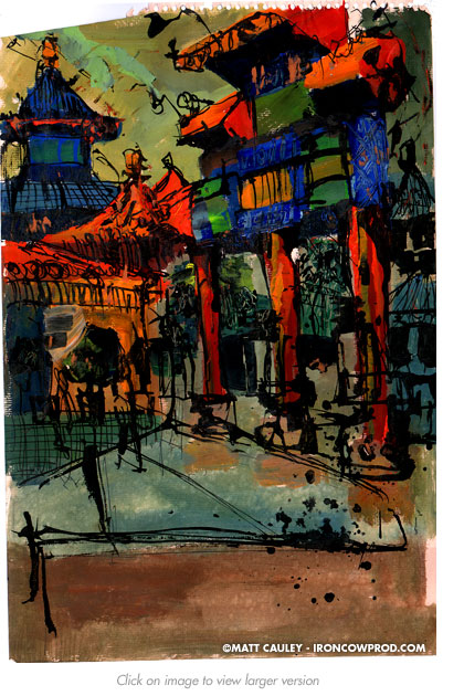 """China"" Acrylic and Ink on paper. 14 x 18 inches. Painted 1997 by Matt 'Iron-Cow' Cauley."