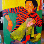 """Lulu (Work in Progress)"" Acrylic on panel. 20 x 30 inches. Painted 2004 by Matt 'Iron-Cow' Cauley."