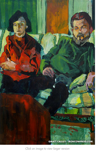 """Parents"" Acrylic on panel. 20 x 30 inches. Painted 2004 by Matt Cauley"