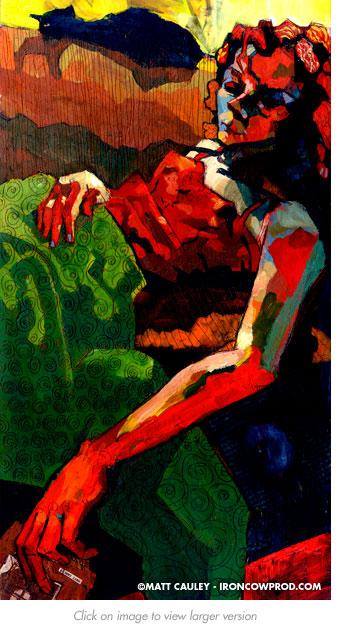 """Slumber"" Acrylic on panel. 10 x 20 inches. Painted 2003 by Matt 'Iron-Cow' Cauley."