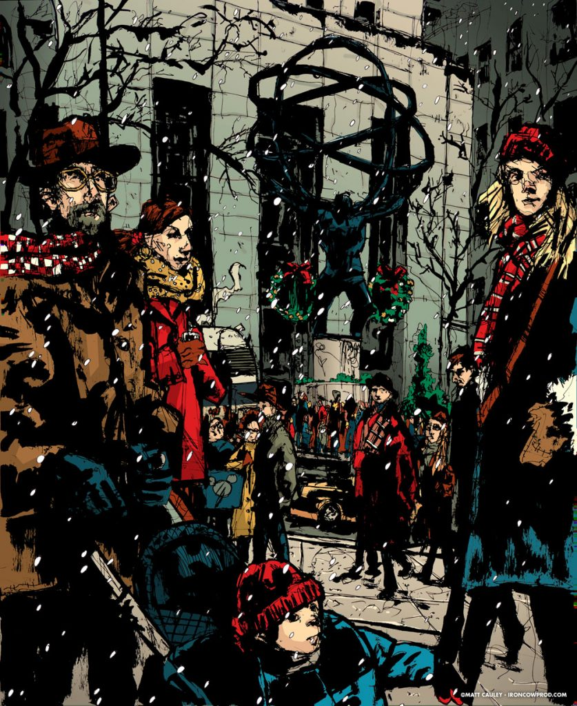 """Rockefeller Holiday Card"" Ink with Digital Coloring. 16 x 20 inches. Created 2002 by Matt 'Iron-Cow' Cauley."
