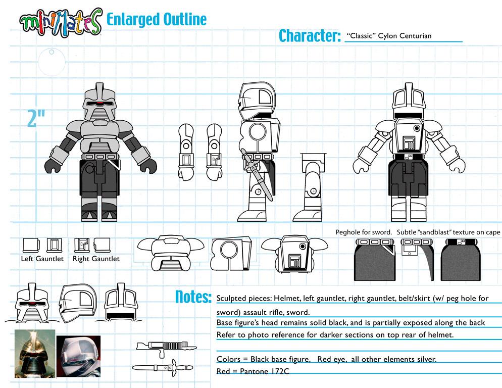 Battlestar Galactica: Cylon Centurion (Classic) Minimate Design (Control Art Only) - by Matt 'Iron-Cow' Cauley