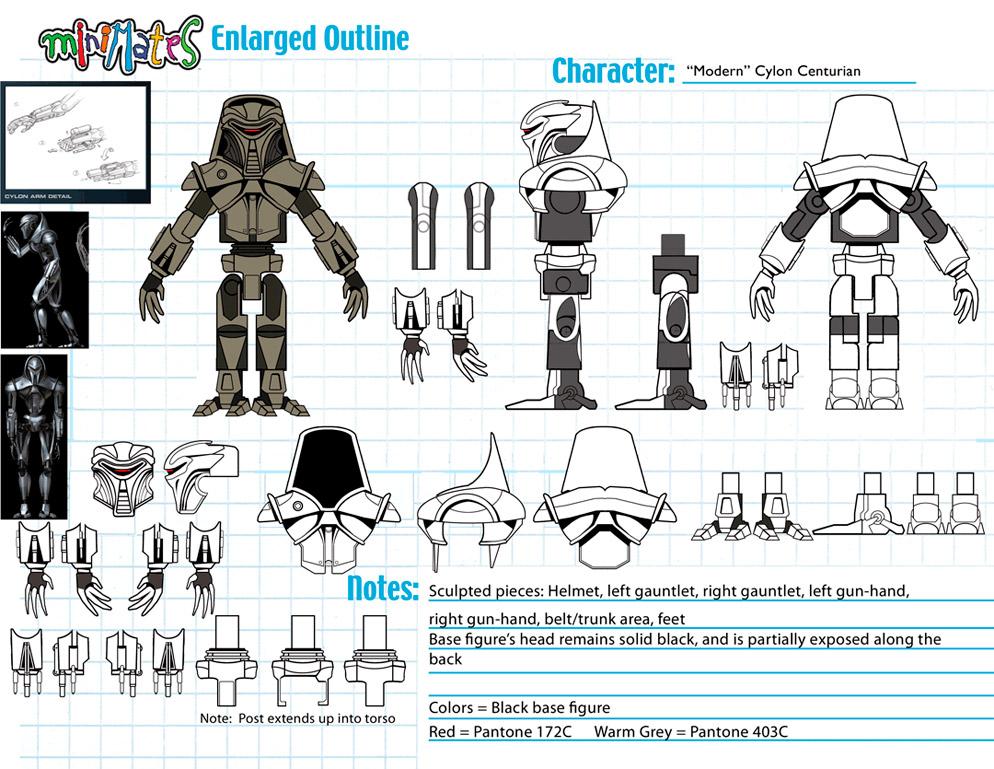 Battlestar Galactica: Cylon Centurion (Modern) Minimate Design (Control Art Only) - by Matt 'Iron-Cow' Cauley