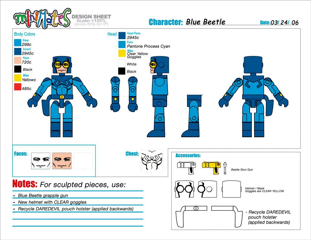 DC Wave2: Blue Beetle Minimate Design (Control Art Only) - by Matt 'Iron-Cow' Cauley