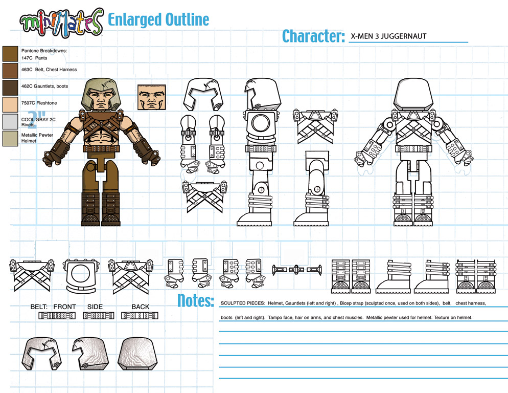 Marvel: X3 Juggernaut Minimate Design (Control Art Only) - by Matt 'Iron-Cow' Cauley