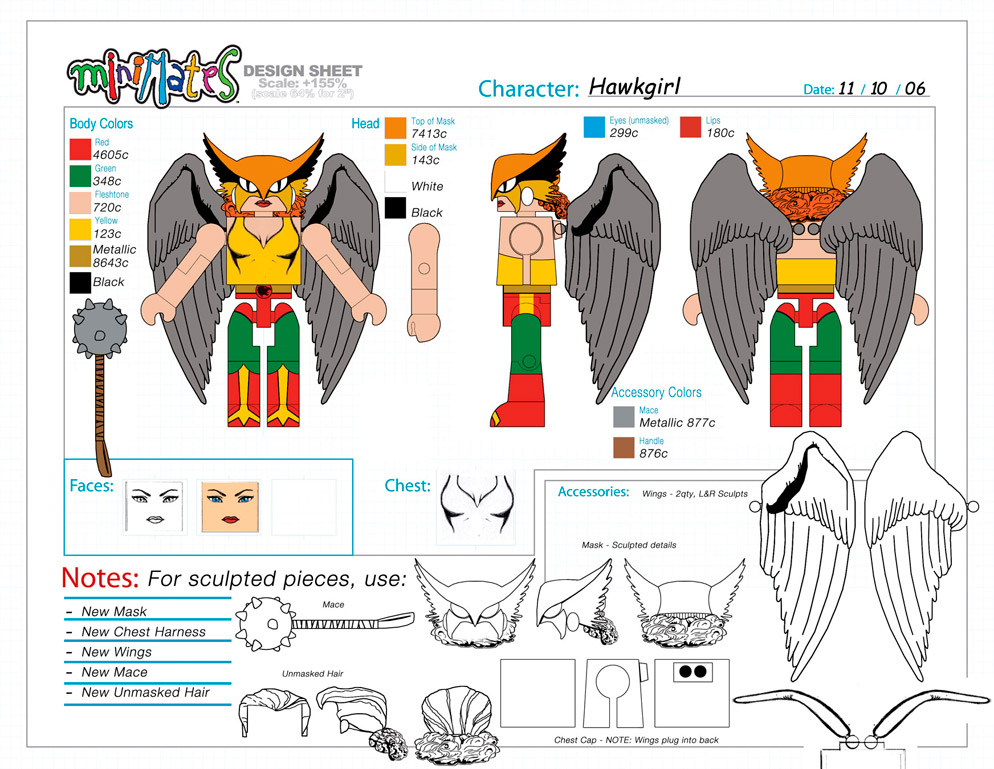 DC Wave5: Hawkgirl Minimate Design (Control Art Only) - by Matt 'Iron-Cow' Cauley