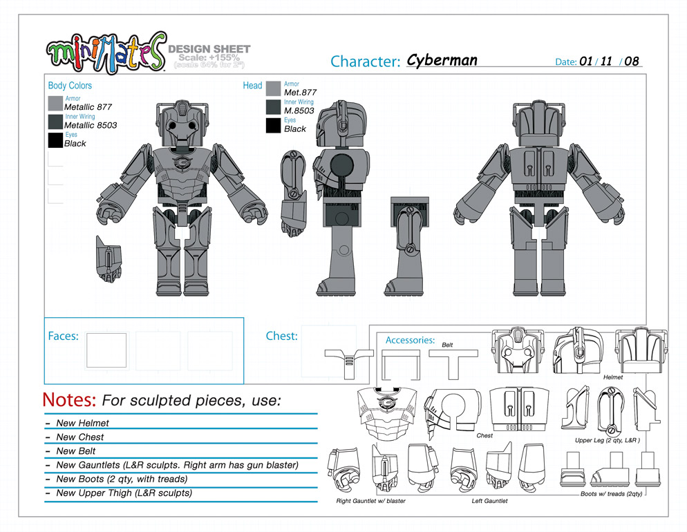 Doctor Who: Cyberman Minimate Design (Control Art Only) - by Matt 'Iron-Cow' Cauley
