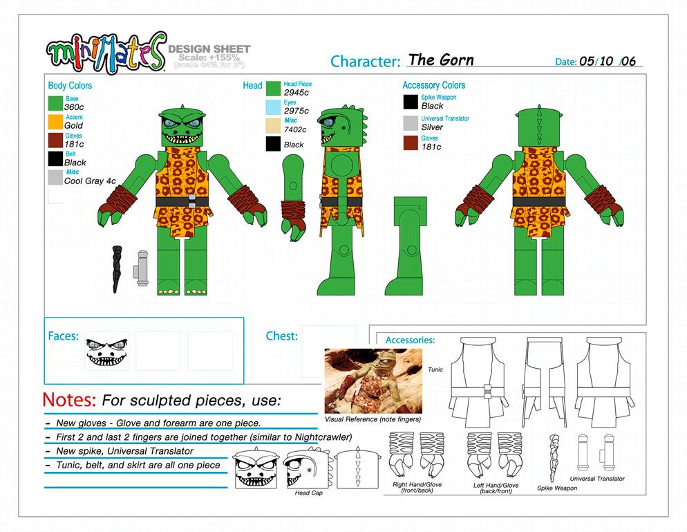 Star Trek: The Gorn Minimate Design (Control Art Only) - by Matt 'Iron-Cow' Cauley