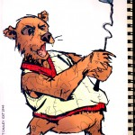 """BULL vs. BEAR SKETCHBOOK by Matt 'Iron-Cow' Cauley """"Bear Golf"""""""