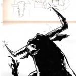 "BULL vs. BEAR SKETCHBOOK by Matt 'Iron-Cow' Cauley ""Bull Lunging"""