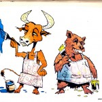 """BULL vs. BEAR SKETCHBOOK by Matt 'Iron-Cow' Cauley """"Together Painting"""""""