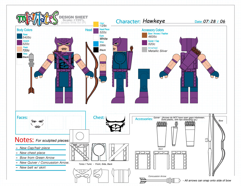 Marvel: Hawkeye Minimate Design (Control Art Only) - by Matt 'Iron-Cow' Cauley