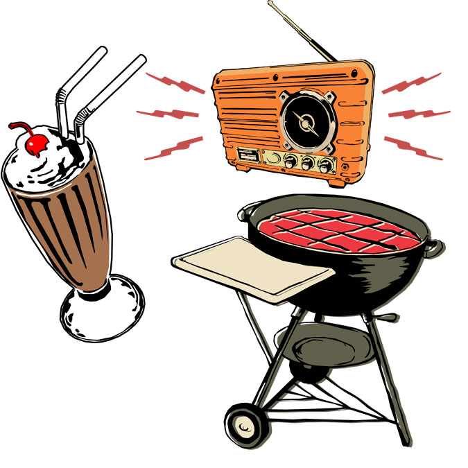 Summer Party Illustrations - Milkshake, Radio, and BBQ Grill
