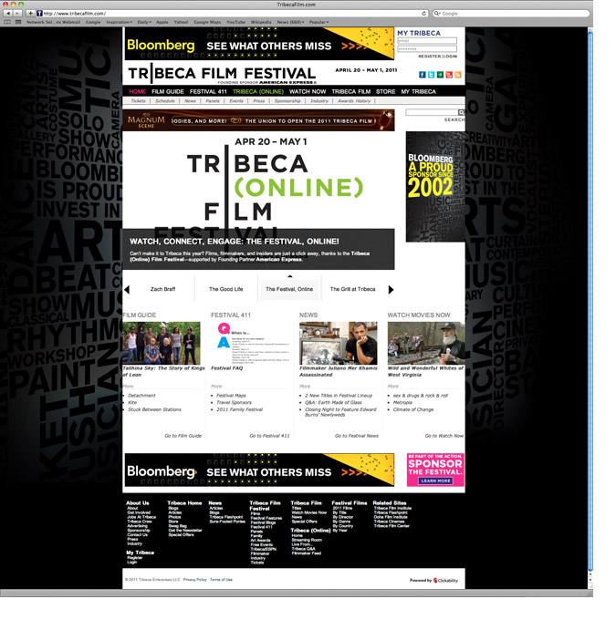 Tribeca Film Festival Website Takeover