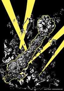 Robot Army (B&W) - T-Shirt Illustration by Matt 'Iron-Cow' Cauley