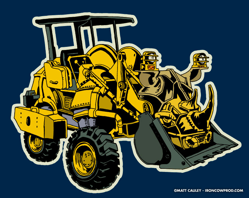 Rhinodozer (alternate) - T-Shirt Illustration by Matt 'Iron-Cow' Cauley