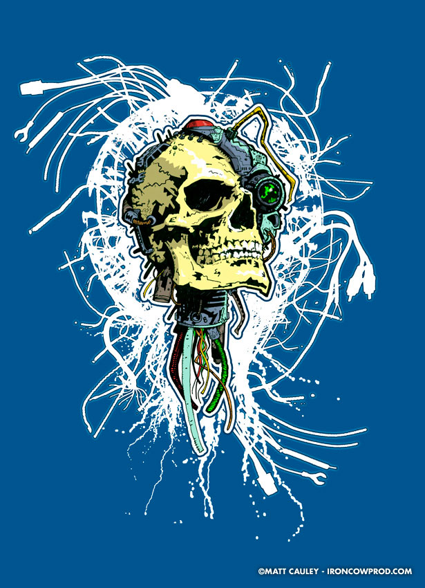 FutureSkull - T-Shirt Illustration by Matt 'Iron-Cow' Cauley