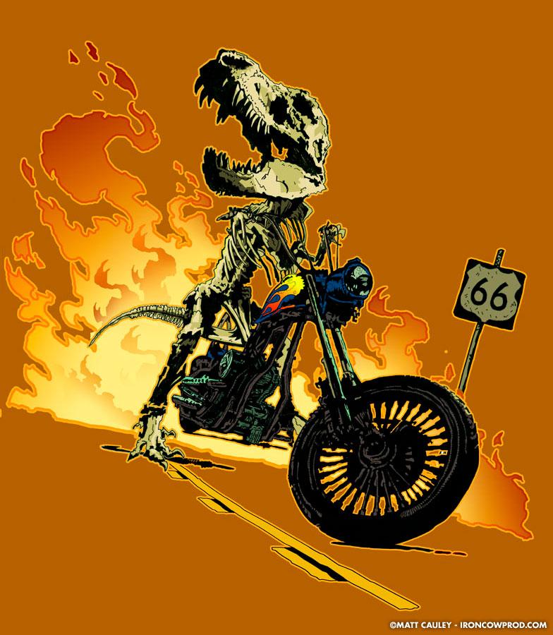 T-Rex Biker - T-Shirt Illustration by Matt 'Iron-Cow' Cauley