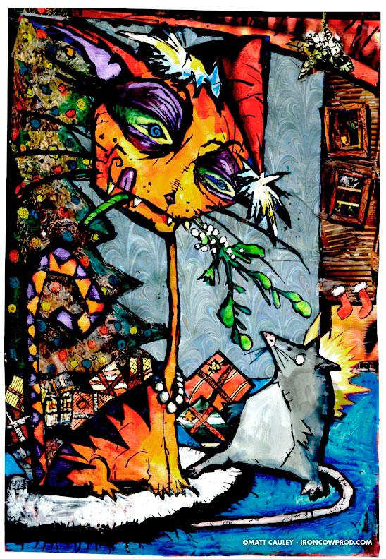 """CATS SKETCHBOOK by Matt 'Iron-Cow' Cauley - """"Under The Mistletoe"""""""