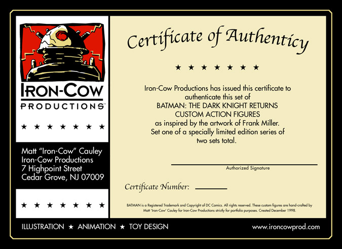 ICP Certificate of Authenticity