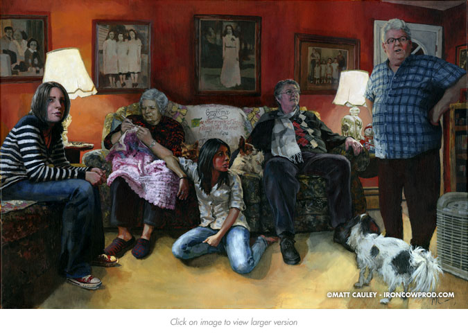 """Florence With Family"" - Acrylic on canvas. 24 x 36 inches. Painted 2011 by Matt Cauley / Iron-Cow"