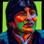"POSTER: ""Evo Morales"" - Latin America Investing Conference Illustrations by Matt Cauley / Iron-Cow"
