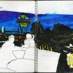"EPCOT SKETCHBOOK by Matt 'Iron-Cow' Cauley - ""Evening Coffee"""