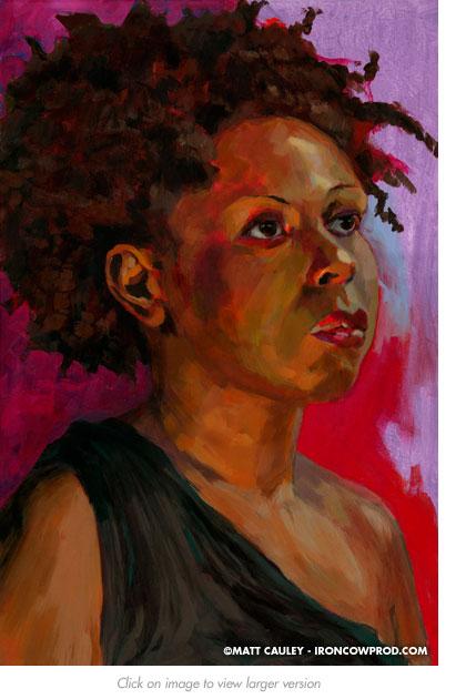 """Hanna"" - Acrylic on canvas. 20 x 30 inches. Painted 2012 by Matt Cauley"