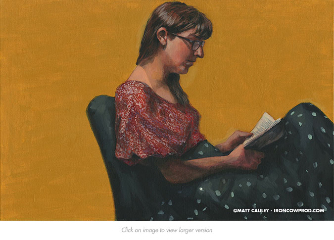 April 12 (Bridget Reading) Acrylic on Canvas | 20 x 30 inches Painted 2014 by Matt Cauley