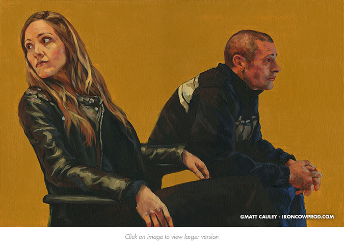 April 6 (Sabrina and Alfie) Acrylic on Canvas | 20 x 30 inches Painted 2015 by Matt Cauley
