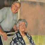 """""""Bill and Nancy""""   Acrylic on canvas   20 x 20 inches   Painted 2015 by Matt Cauley"""