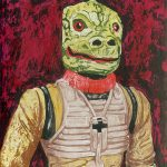 """Lizard Man"" | Ink Resist on Board | 8 x 10 inches | Painted 2016 by Matt Cauley"