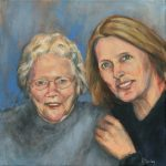 """""""Sherleen and Mom""""   Acrylic on canvas   20 x 20 inches   Painted 2015 by Matt Cauley"""