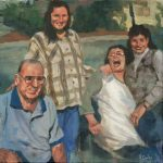 """""""Yvette, Her Parents Donna and Leroy, and her sister""""   Acrylic on canvas   20 x 20 inches   Painted 2015 by Matt Cauley"""